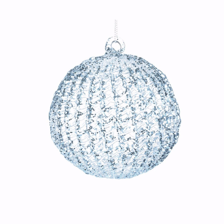 Ice Blue with Glitter Spun Glass Ball Ornament