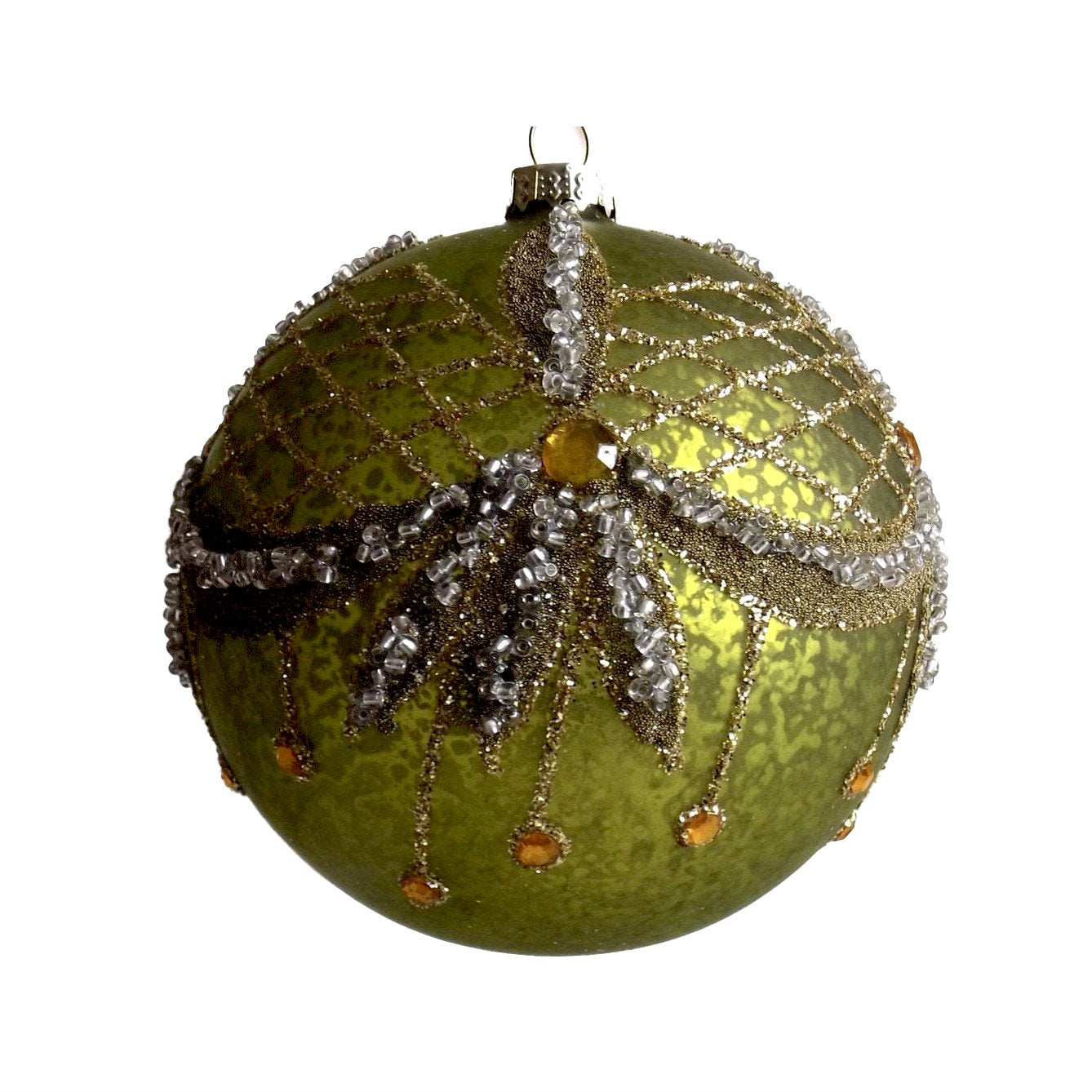 Green Glass Ornament with Swags -  Christmas - Fil de Fer Enterprises - Putti Fine Furnishings Toronto Canada