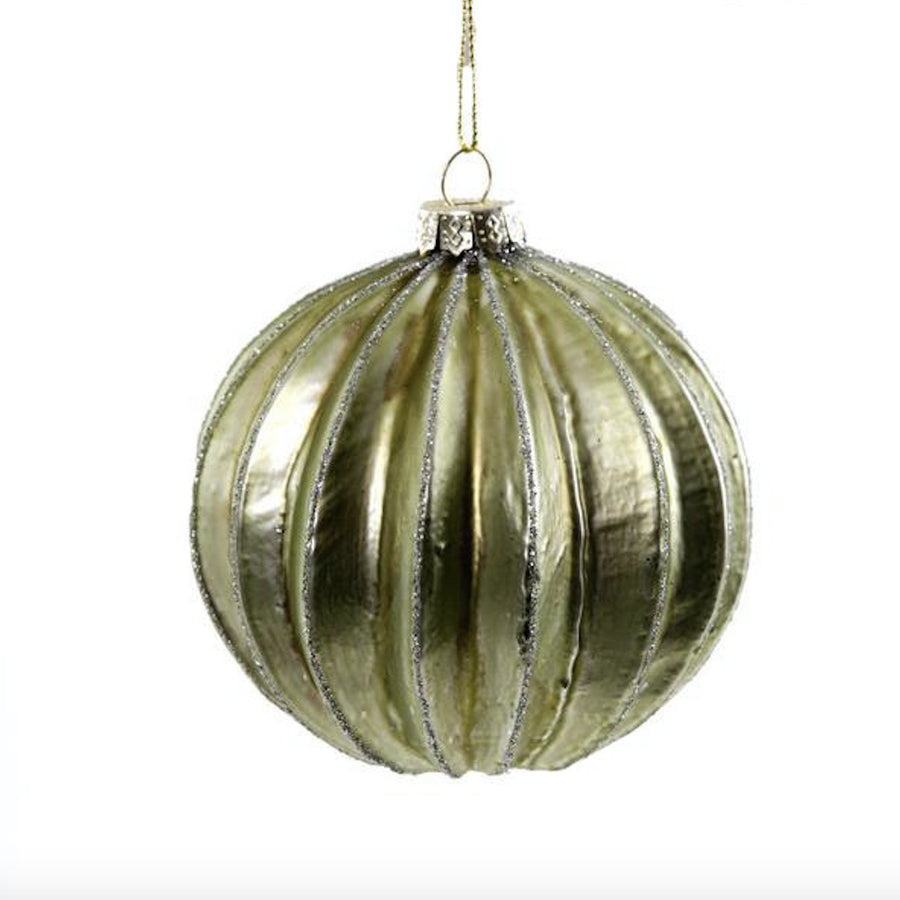 Glitter Ribbed Green Ornament