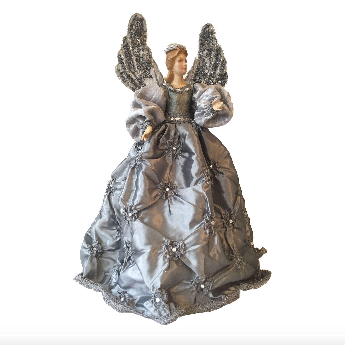 Angel with Silver Taffeta Dress Christmas Tree Topper | Putti Fine Furnishings Toronto Canada