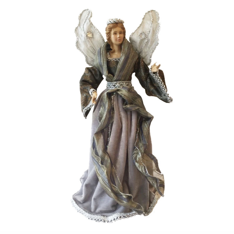 Angel with Silver Velvet Dress Christmas Tree Topper | Putti Fine Furnishings Toronto Canada
