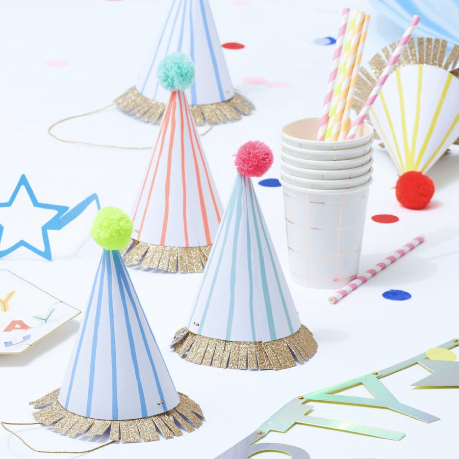 "Meri Meri ""Multi Striped"" Party Hats -  Party Supplies - Meri Meri UK - Putti Fine Furnishings Toronto Canada - 1"