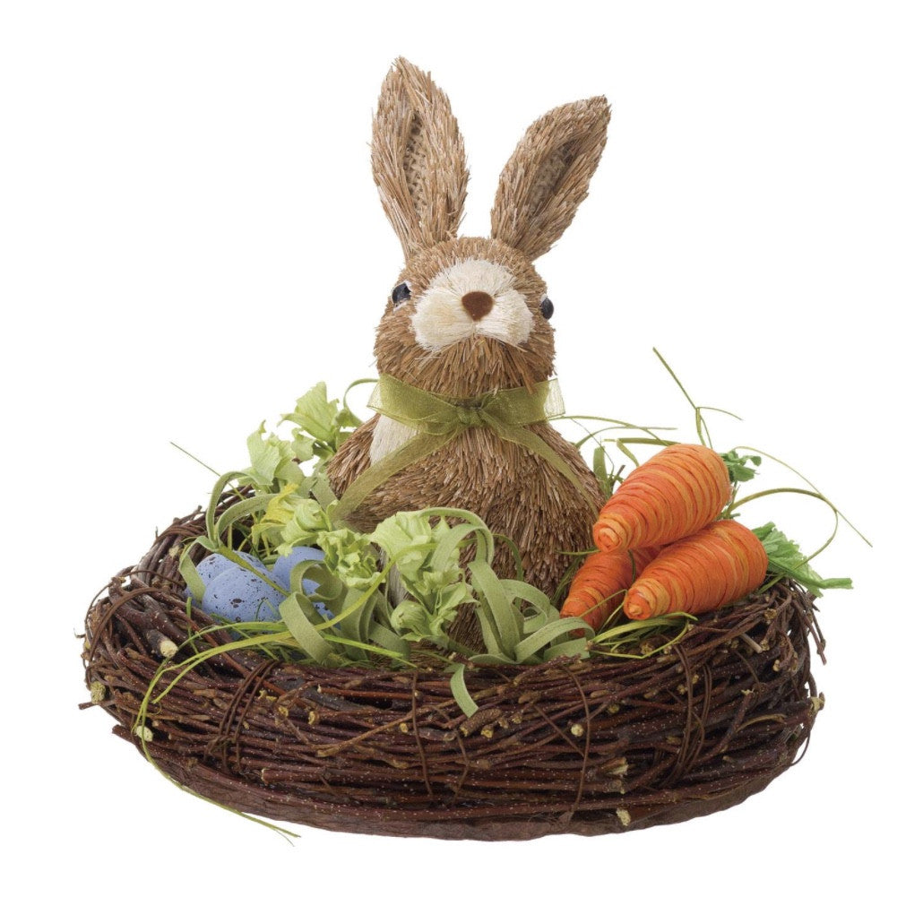 Sisal Rabbit in Nest with Carrots and Eggs, PG-Premier Gift, Putti Fine Furnishings