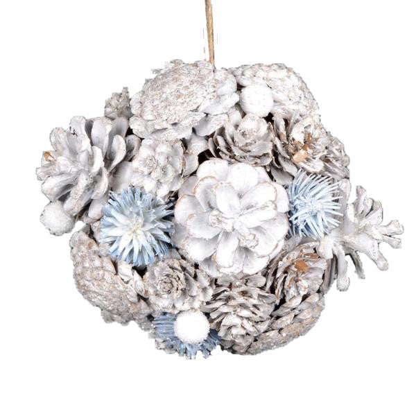 Glacier Blue and White Pine Cone Ball
