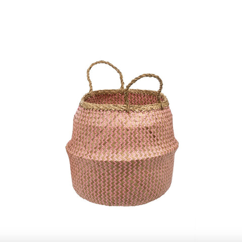 Pink Weave Belly Baskets-Decorative Accessories-IT-Indaba Trading-Medium-Putti Fine Furnishings