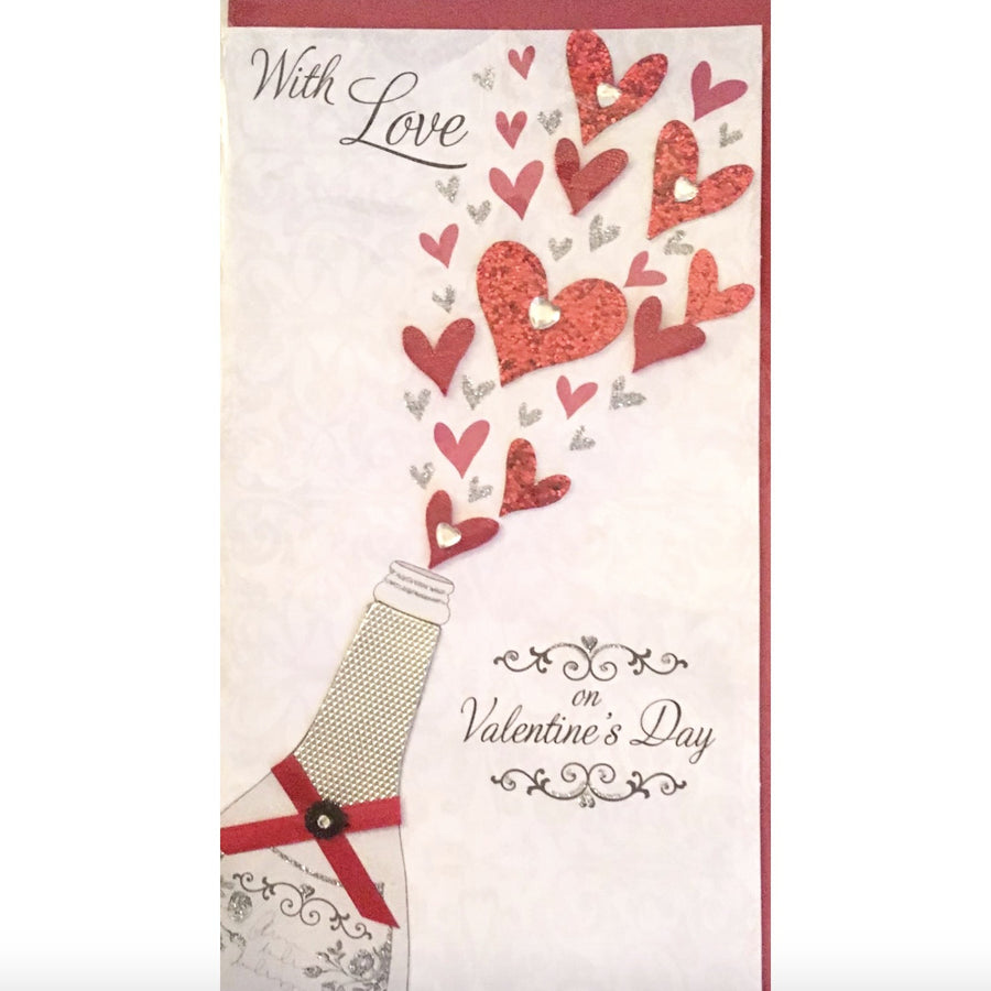 """With Love ... on Valentines Day"" Greeting Card"