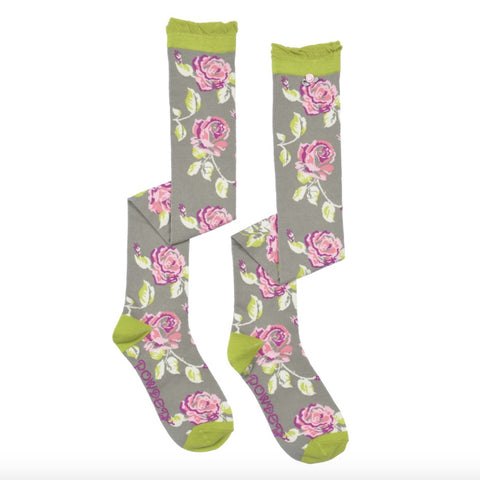 "Powder ""Rose"" Long Socks - Grey-Personal Accessories-PDL-Powder Design Limited-Putti Fine Furnishings"