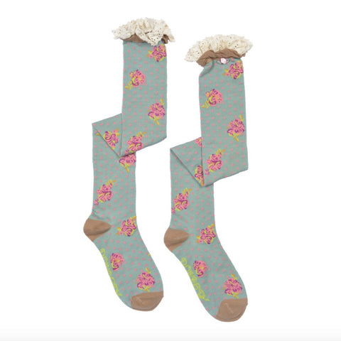 "Powder ""Rosebud"" Long Socks - Mint-Personal Accessories-PDL-Powder Design Limited-Putti Fine Furnishings"