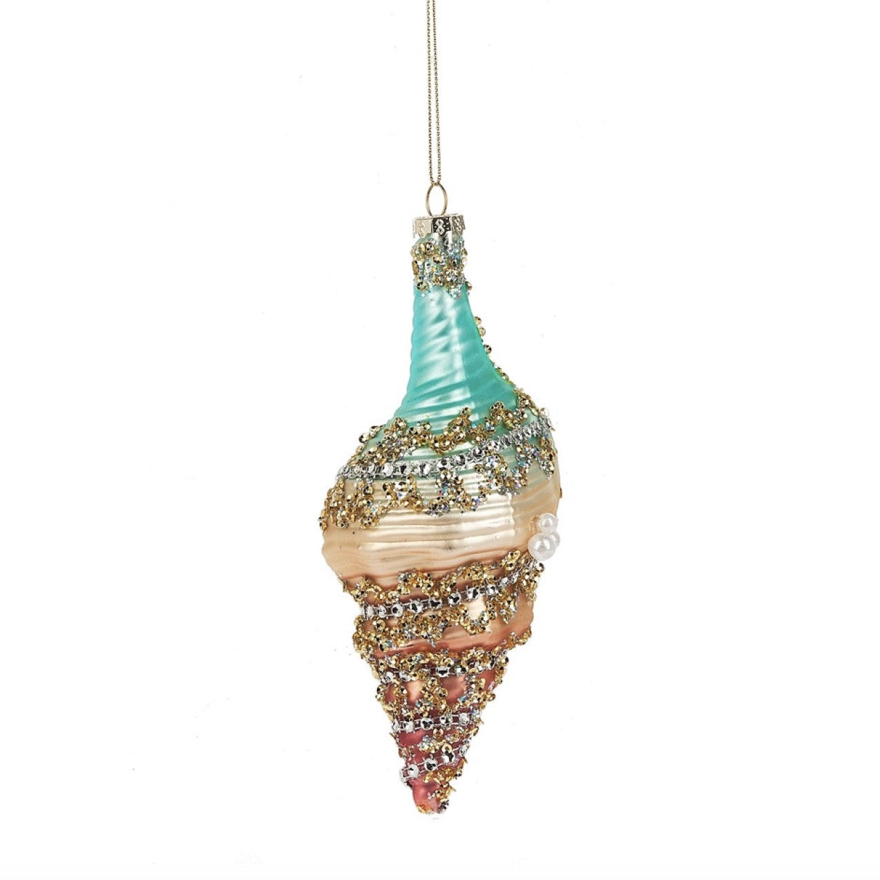 Glass Jewelled Shell Ornament, MW-Midwest / CBK, Putti Fine Furnishings