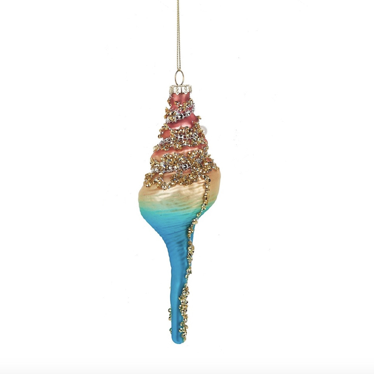 Glass Jewelled Long Spiral Shell Ornament