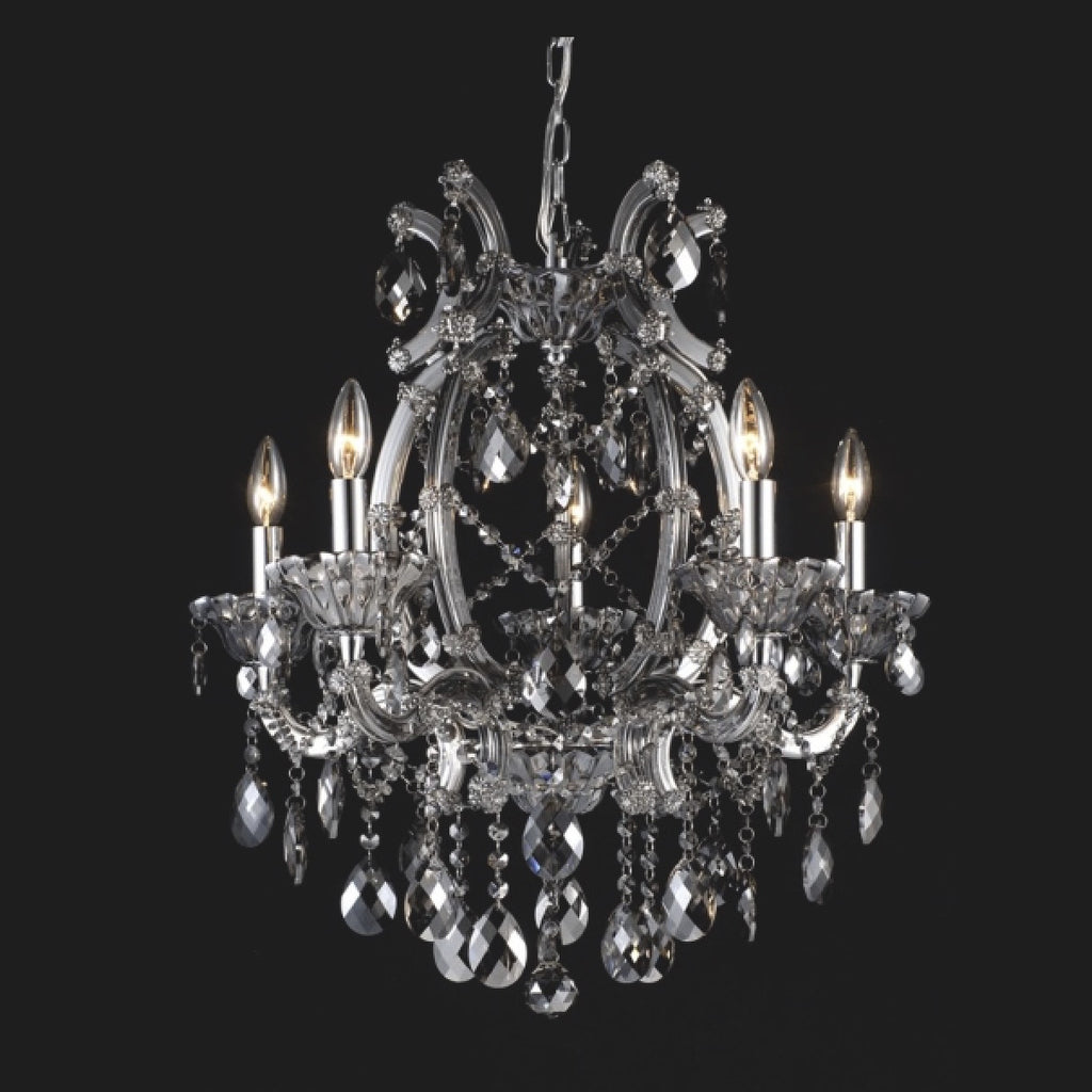 Smoke Crystal Chandelier - 5 Light-Ceiling Fixture-BI-Bethel International-Putti Fine Furnishings