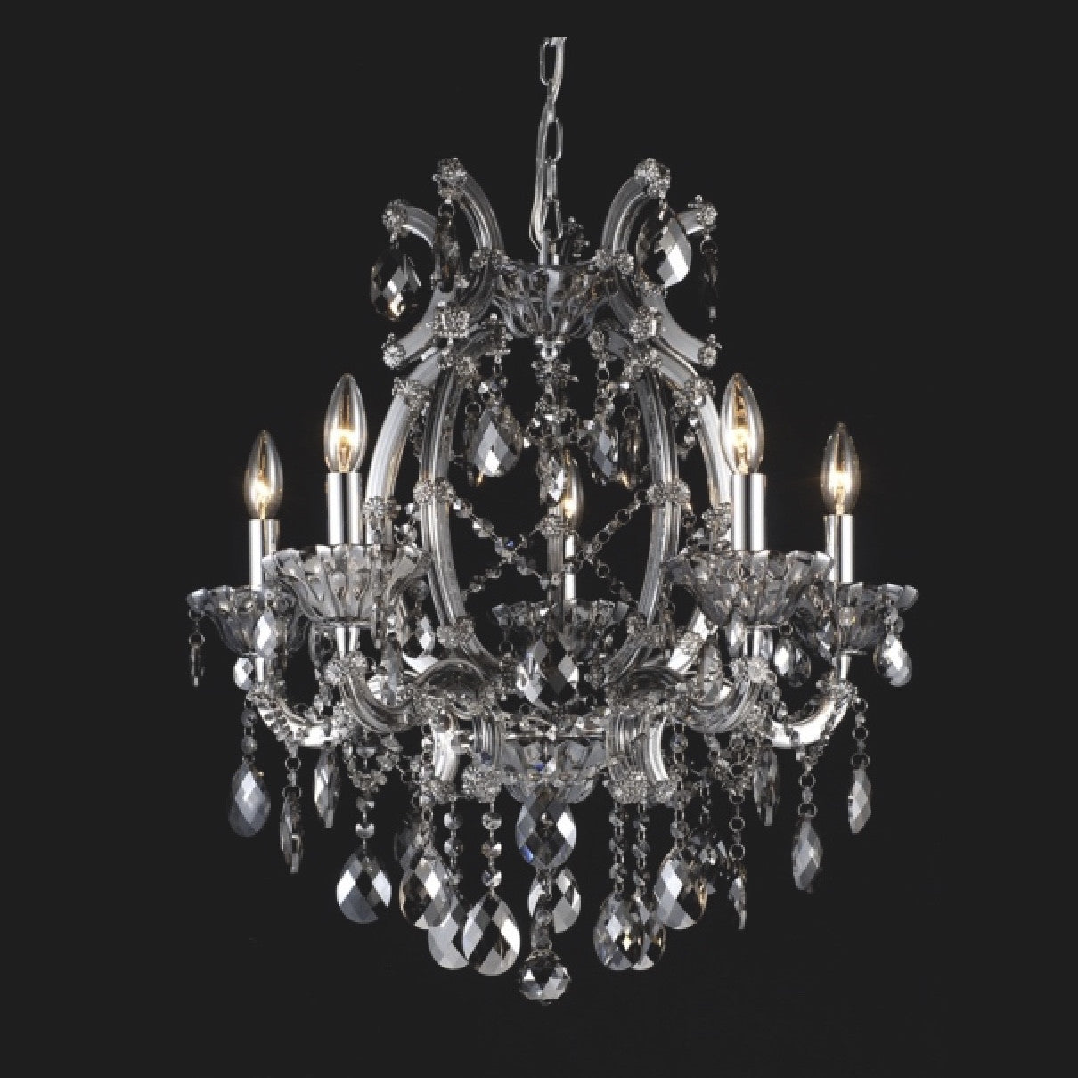 Smoke Crystal Chandelier - 5 Light, BI-Bethel International, Putti Fine Furnishings