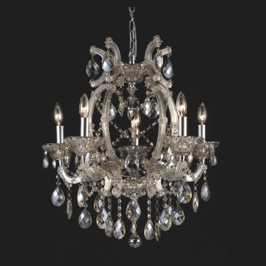 Champagne Crystal Chandelier - 5 Light-Ceiling Fixture-BI-Bethel International-Putti Fine Furnishings