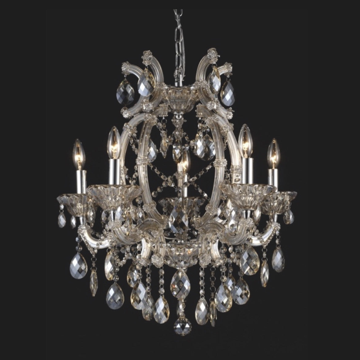Champagne Crystal Chandelier - 5 Light, BI-Bethel International, Putti Fine Furnishings