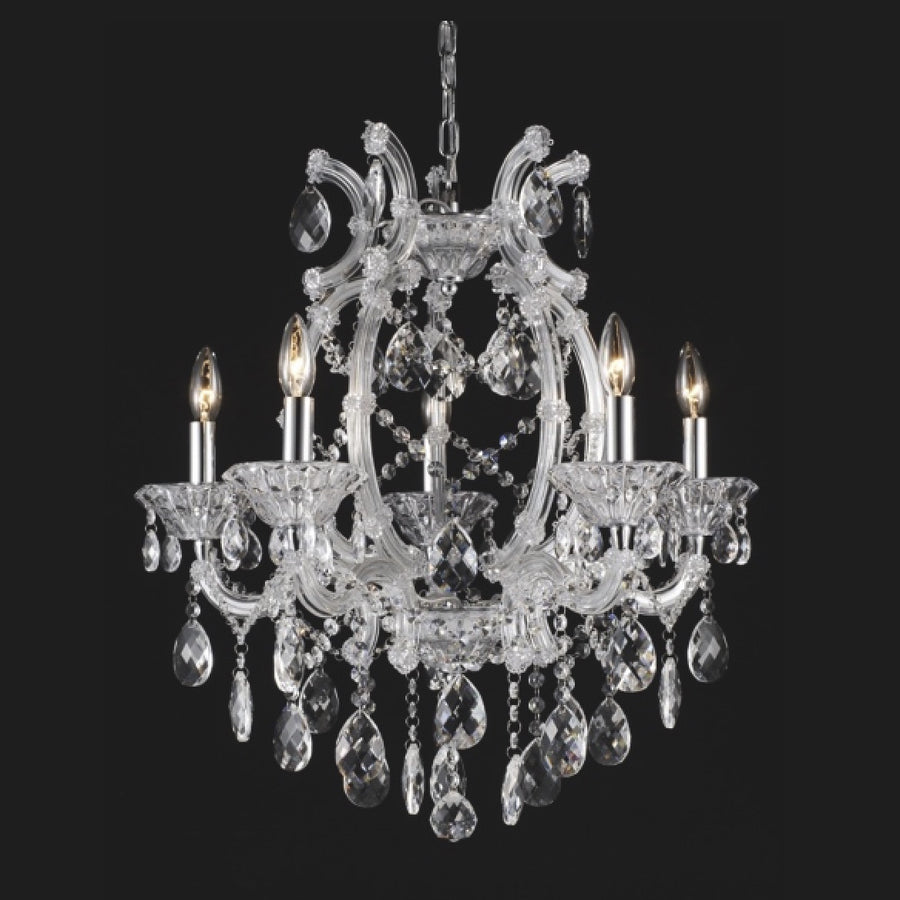 Clear Crystal Chandelier - 5 Light, BI-Bethel International, Putti Fine Furnishings