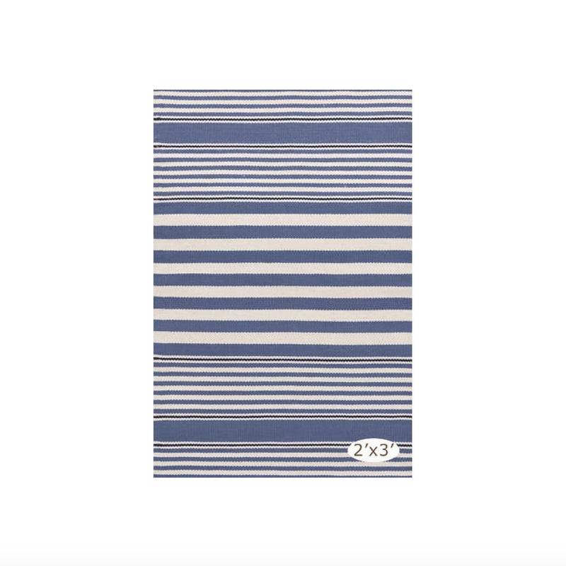 Rugby Stripe Indoor Outdoor Rug - Denim, D&A-Dash & Albert, Putti Fine Furnishings
