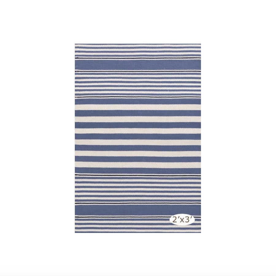 Rugby Stripe Indoor Outdoor Rug - Denim