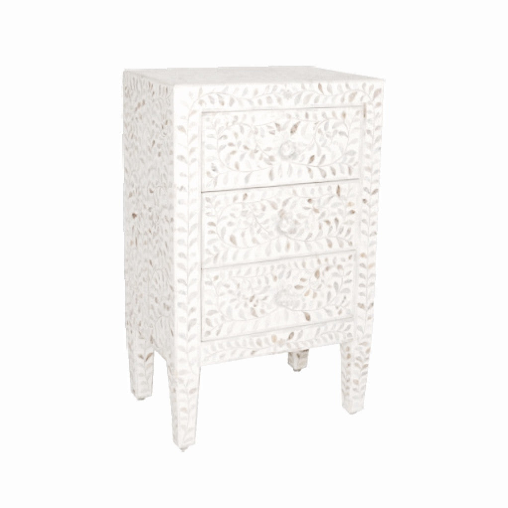 Bone Inlay Side Table - White, BI-Bethel International, Putti Fine Furnishings