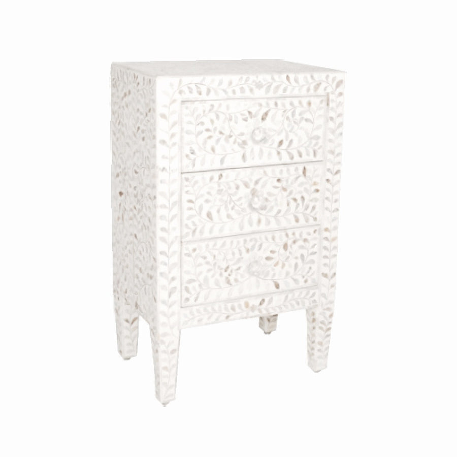 Bone Inlay Side Table - White