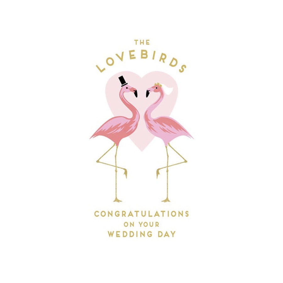 """the Love Bids"" Flamingo Wedding Greeting Card"