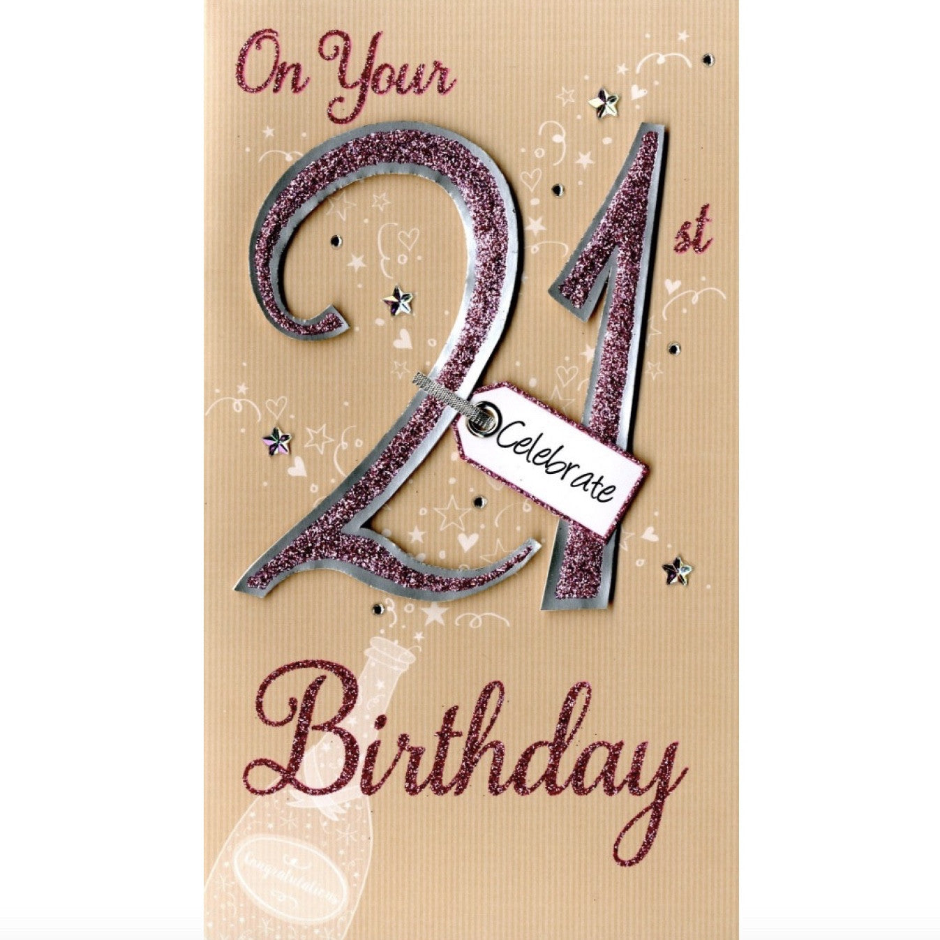 """On your 21st Birthday"" Greeting Card, ID-Incognito Distribution, Putti Fine Furnishings"