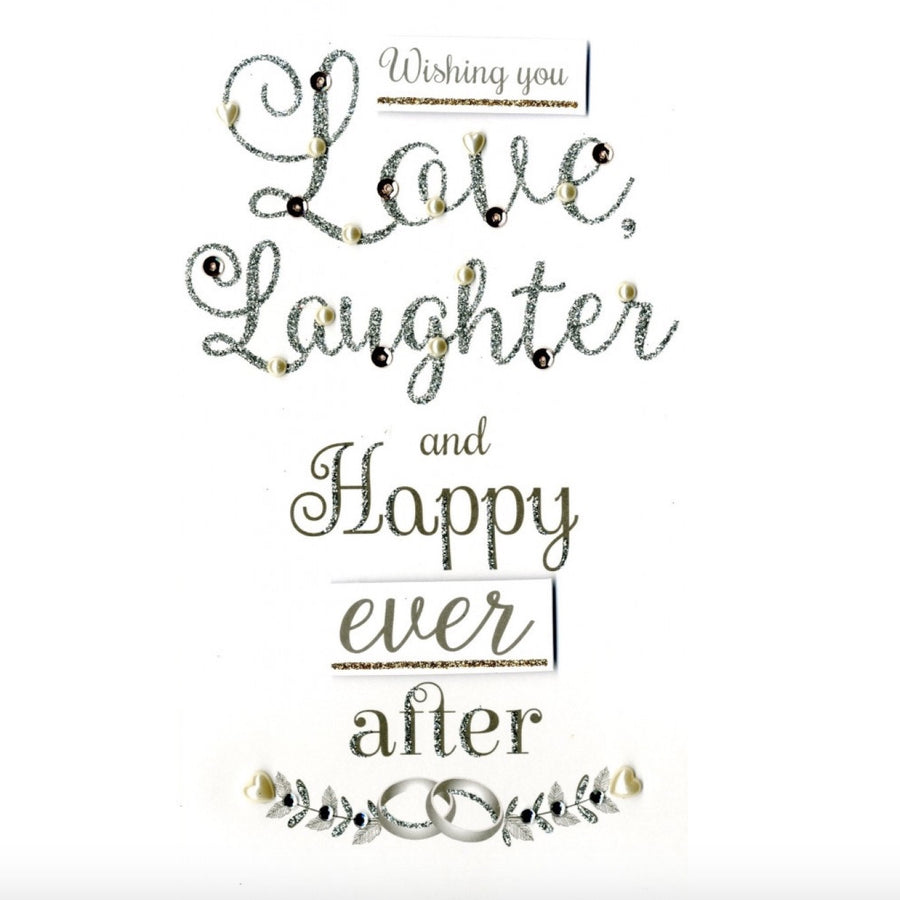 """Wishing you Love and Laughter..."" Wedding Greeting Card"
