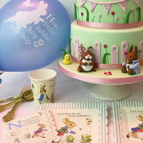 "Peter Rabbit ""Hop little rabbit...hop hop hop"" Balloon - Light Blue-Party Supplies-VA-Vintage AngelVA-Vintage Angel-Balloon-Putti Fine Furnishings"