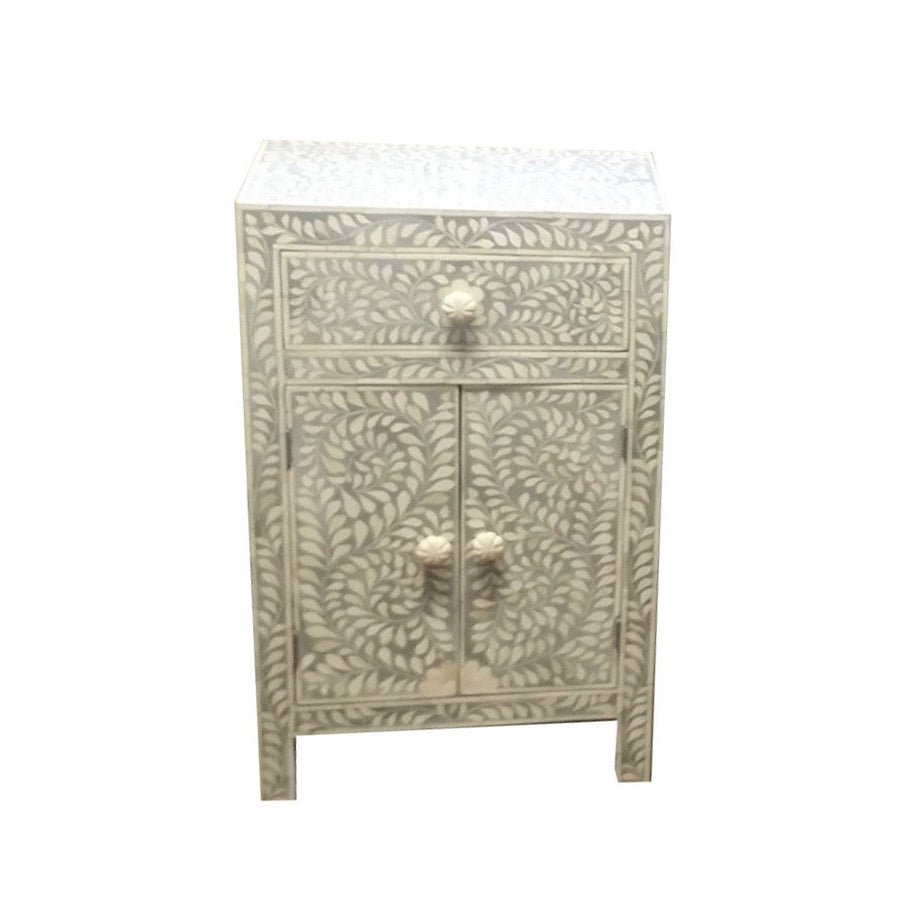 Bone Inlay Small Bedside Cupboard - Grey