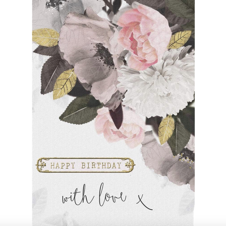 """Happy Birthday With Love"" Greeting Card - Pink Floral"