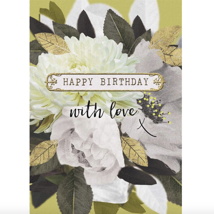 """Happy Birthday With Love"" Greeting Card - White Floral"