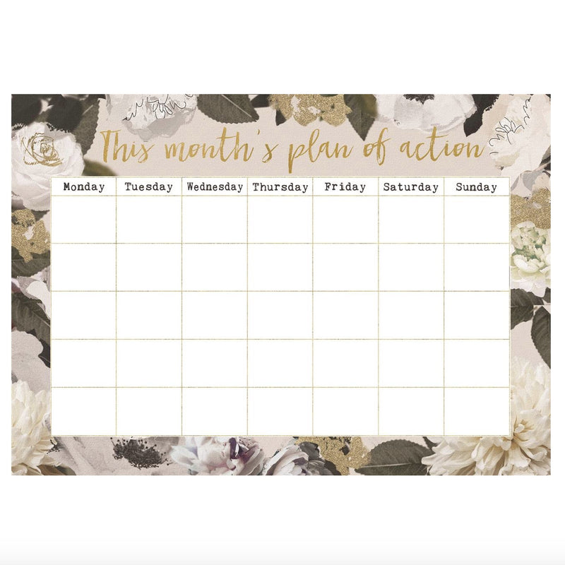 """This Months Plan of Action"" Monthly Planner - White Floral"