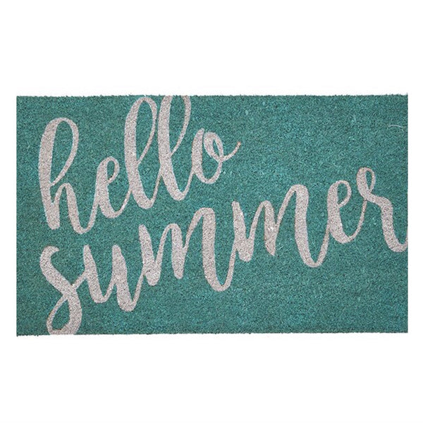 """Hello Summer"" Aqua Doormat-Carpets and Rugs-HI-Harman Inc-Putti Fine Furnishings"