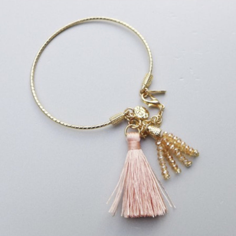 Belle & Flo Glass Bead Tassel Bangle - Peach, B&F-Belle & Flo UK, Putti Fine Furnishings