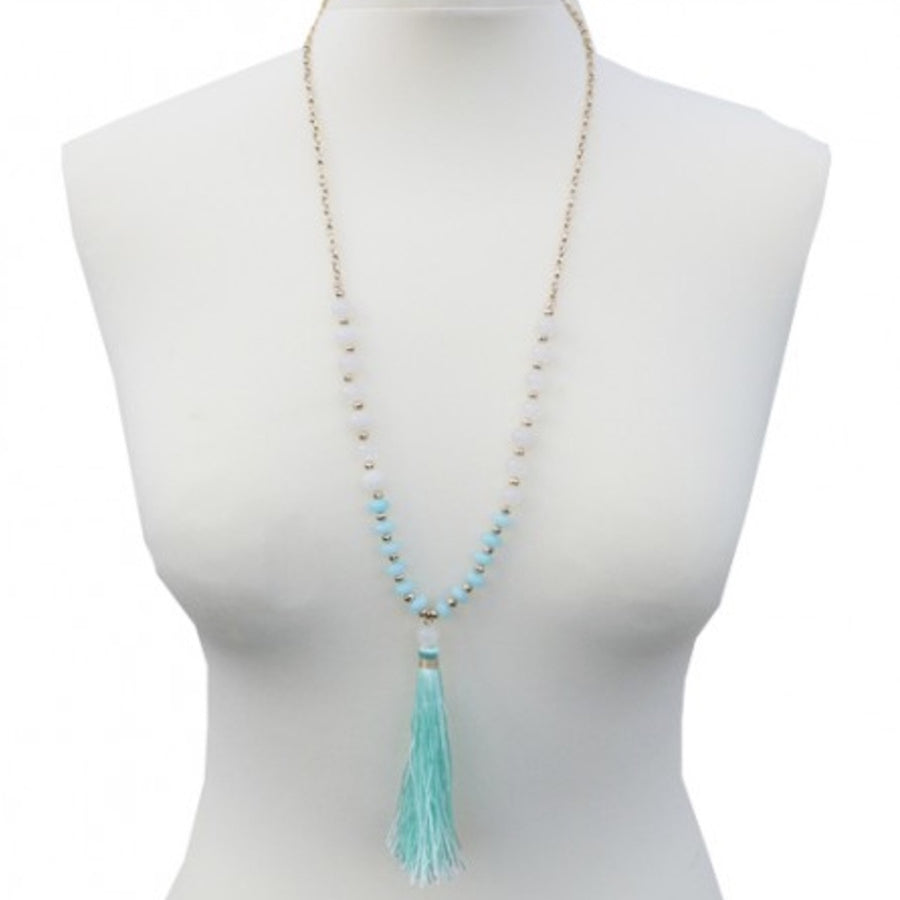 Belle & Flo Long Colored Stone Tassel Necklace - Mint