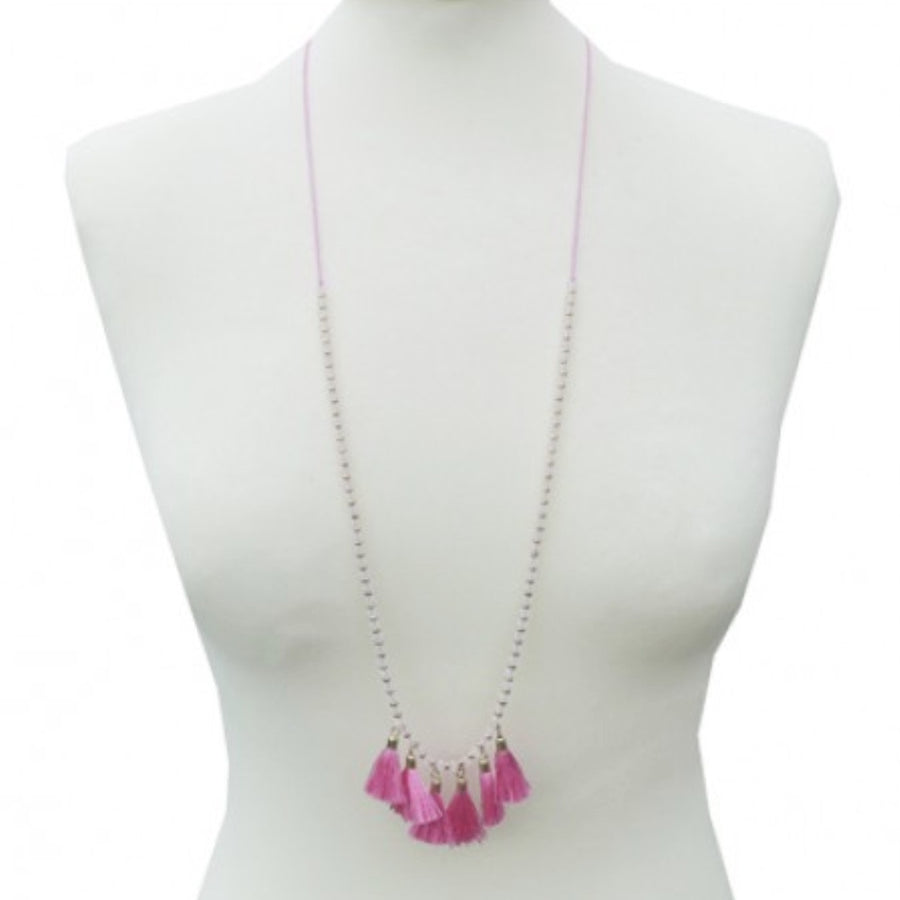 Belle & Flo Long Neon Tassel Necklace - Pink