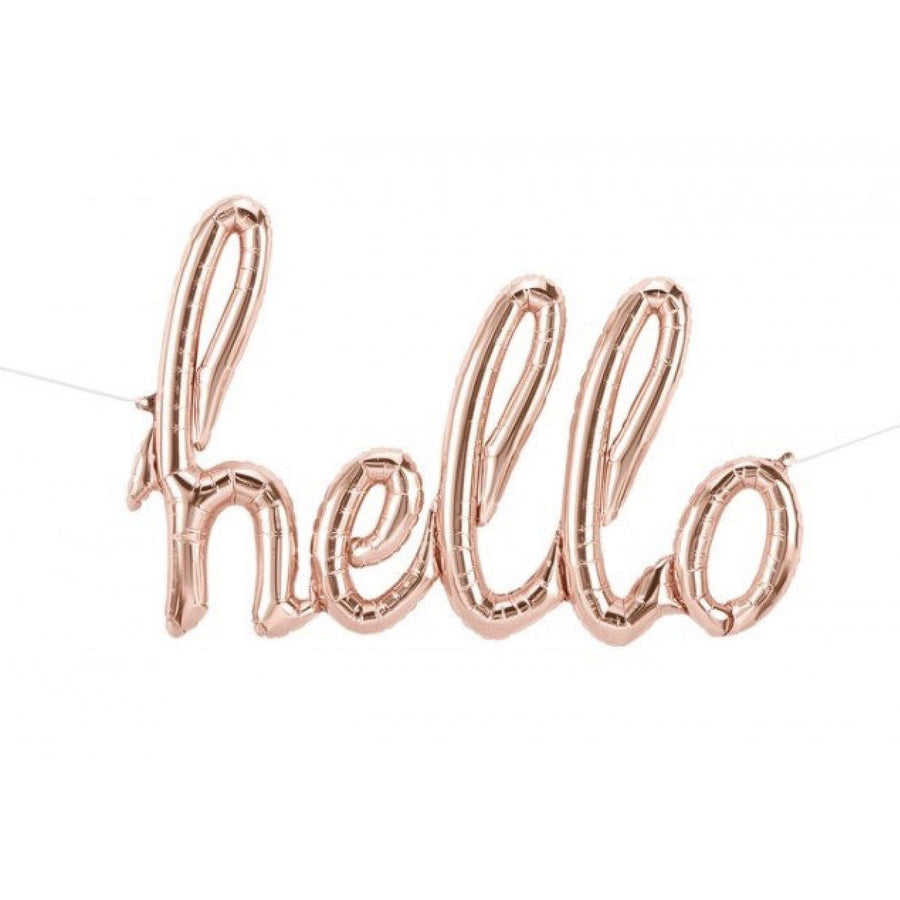 "Rose Gold Foil ""Hello"" Script Balloon, SE-Surprize Enterprize, Putti Fine Furnishings"