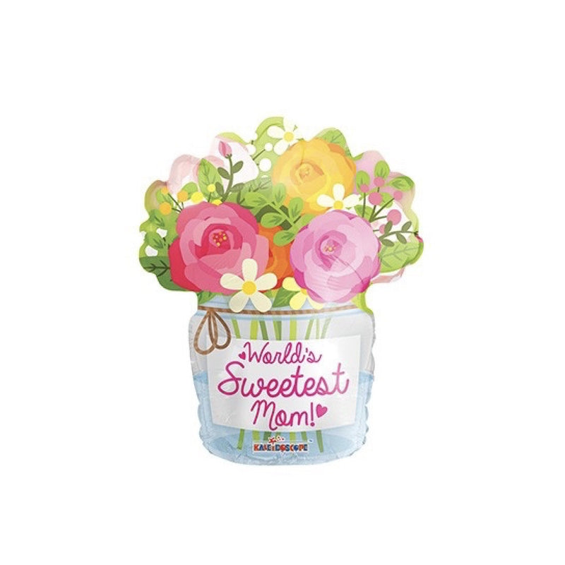 """Worlds Sweetest Mum"" Mason Jar Flower Balloon, SE-Surprize Enterprize, Putti Fine Furnishings"