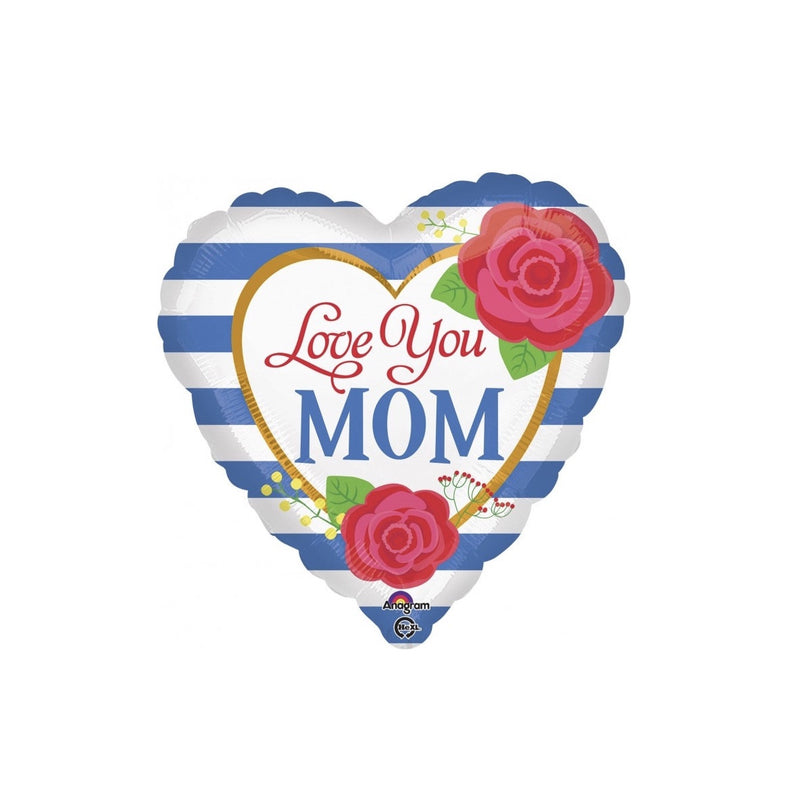 """Love You Mom"" Blue Striped Balloon, SE-Surprize Enterprize, Putti Fine Furnishings"