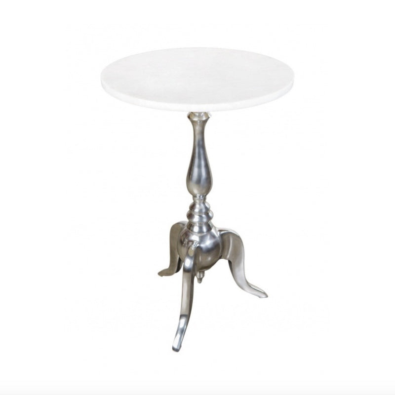 White Marble Top Table with Nickle Base, BI-Bethel International, Putti Fine Furnishings