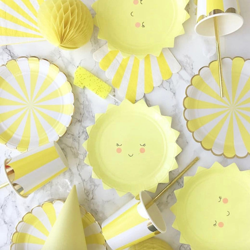 """Toot Sweet"" Yellow and White Striped - Small Paper Plates -  Party Supplies - Meri Meri UK - Putti Fine Furnishings Toronto Canada"
