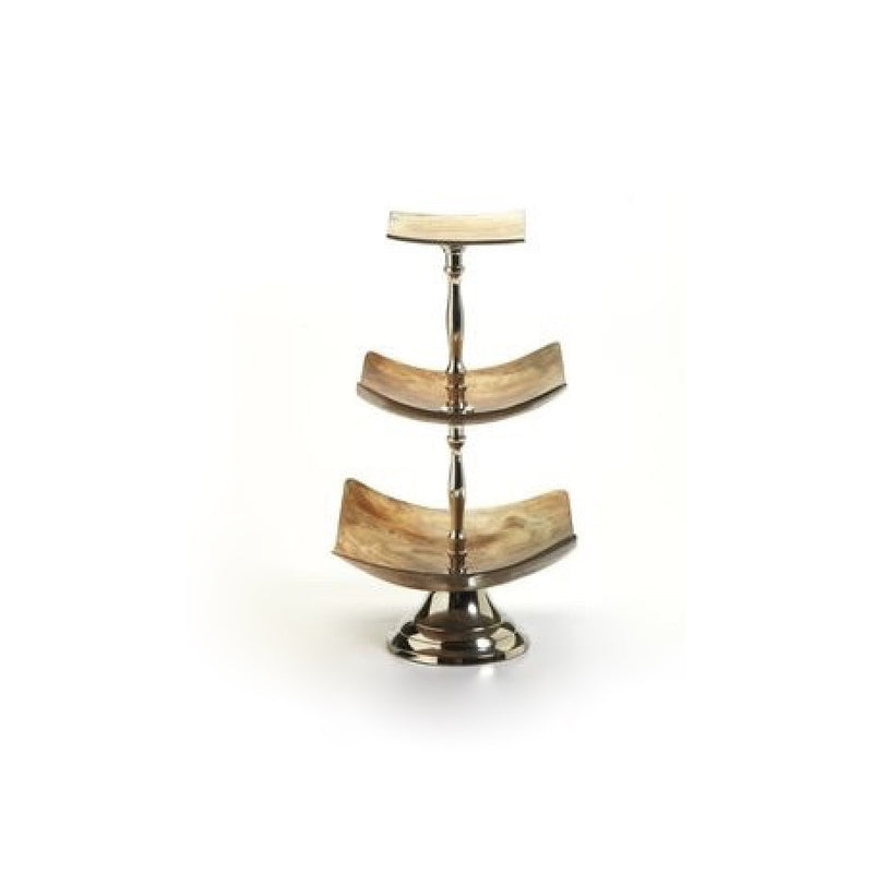 Barclay Butera Montecito 3-Tier Square Horn Dish, ZX-Zodax, Putti Fine Furnishings