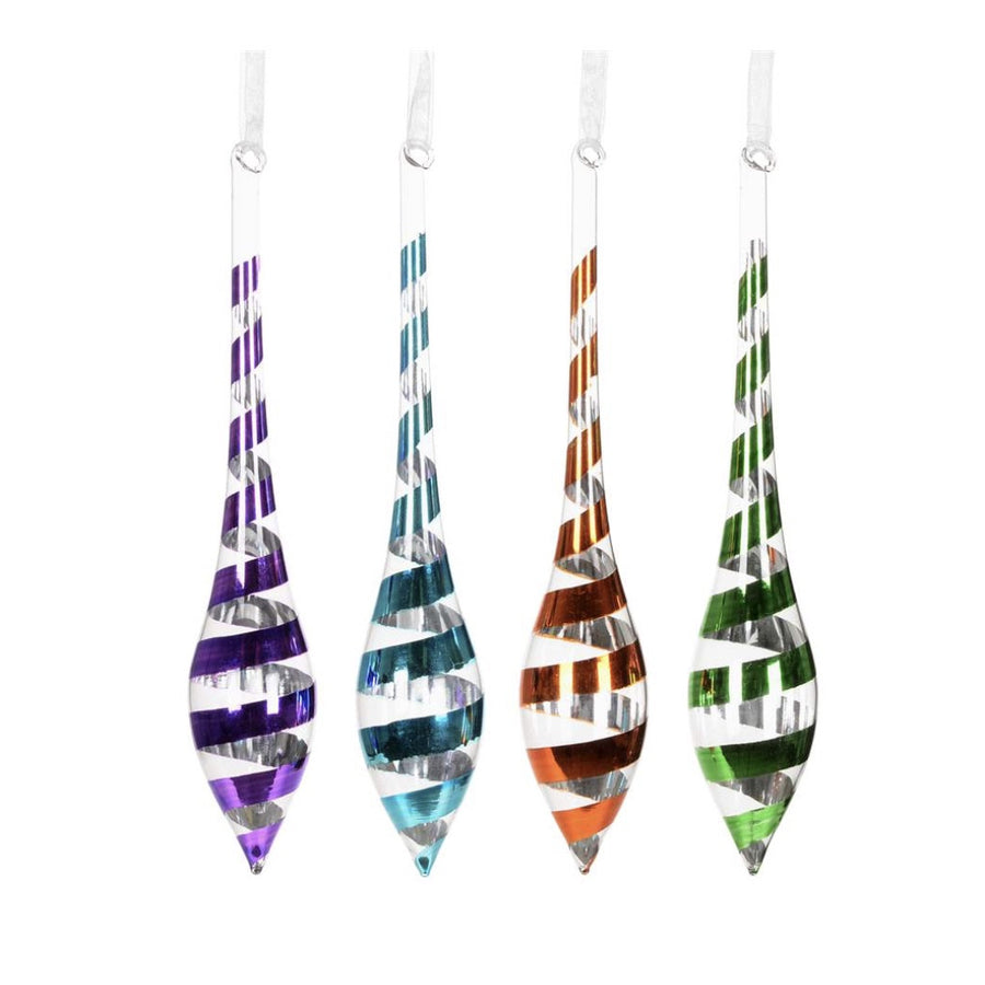 Striped Glass Drop, CT-Christmas Tradition, Putti Fine Furnishings