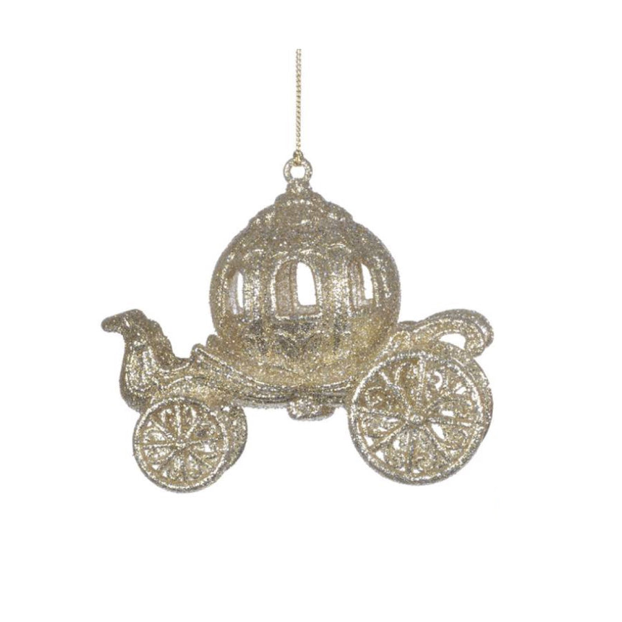 Champagne Glittered Carriage Ornament