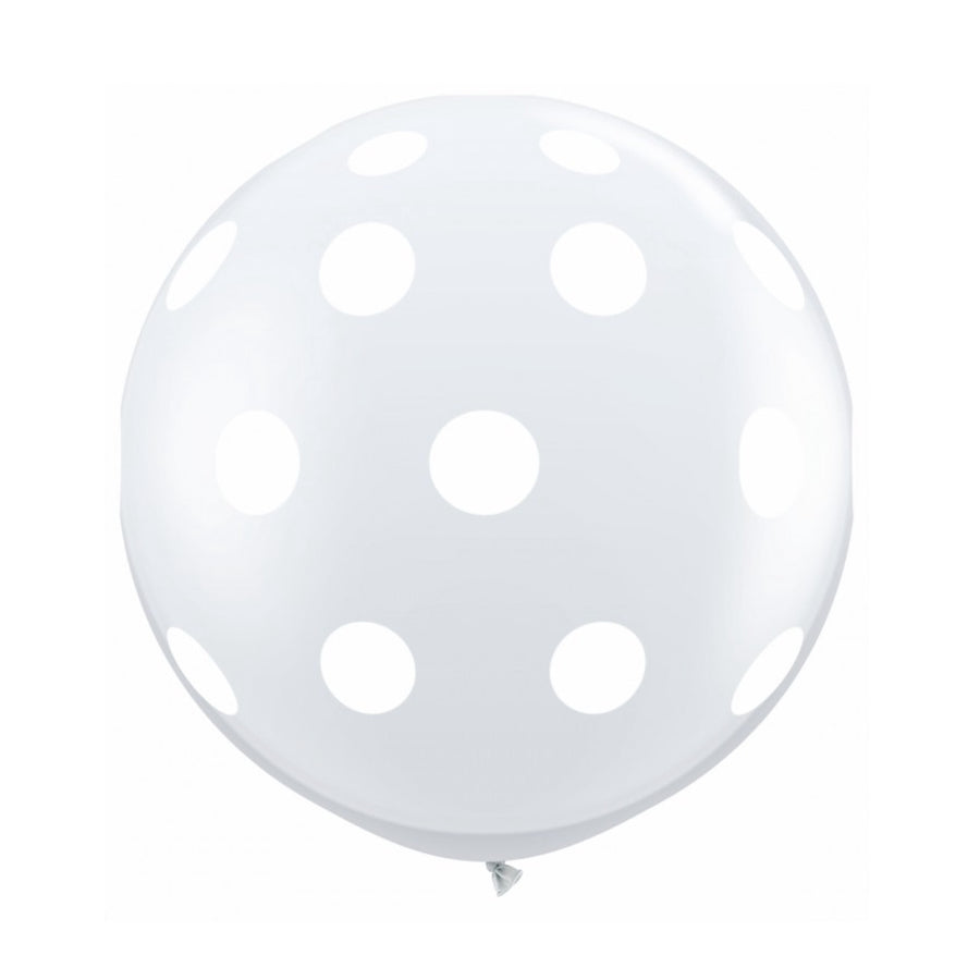 "Giant Round Balloon 36""- Diamond clear with White Dots"