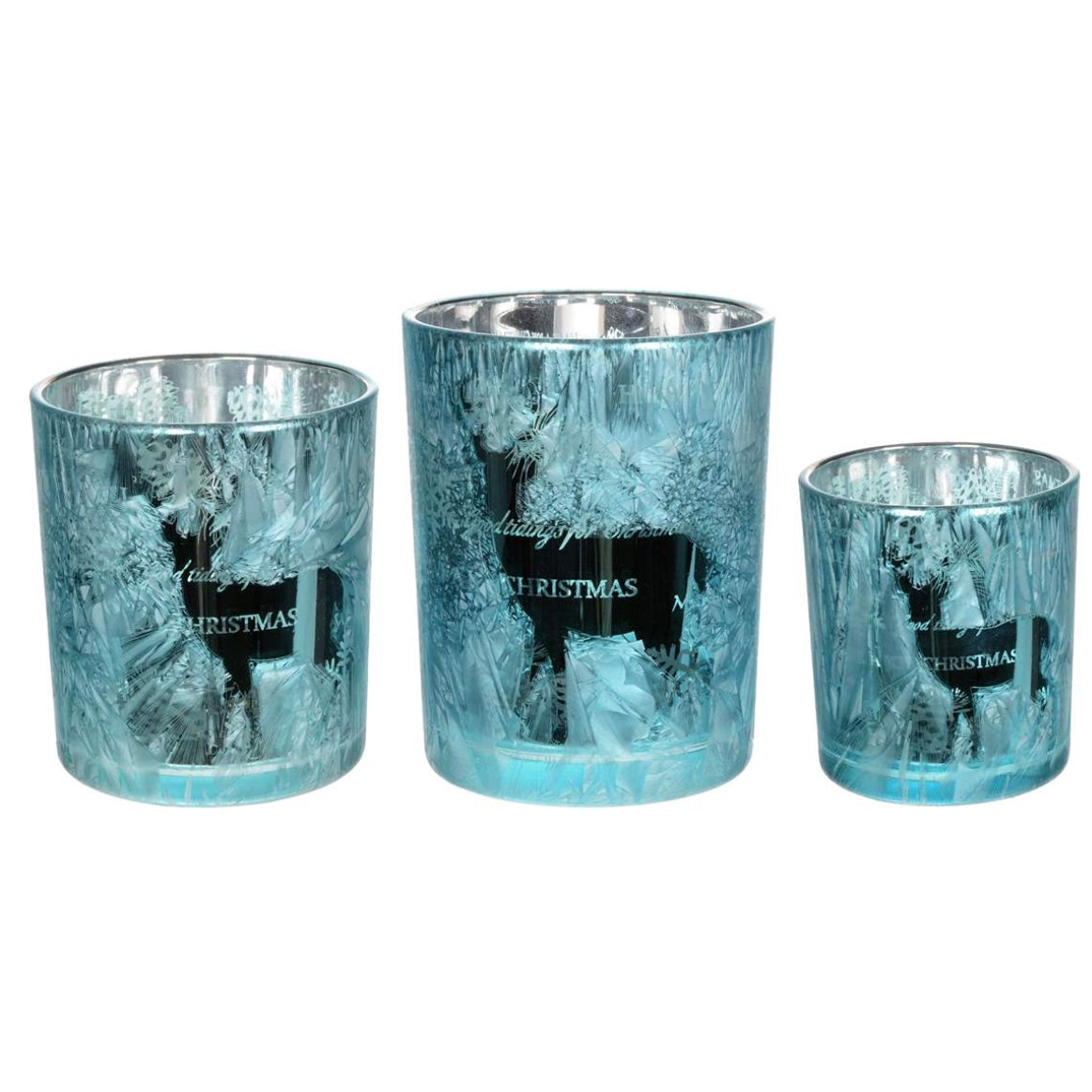 "Blue Ice Mercury Glass ""Christmas Deer"" Tea Lite Holder"