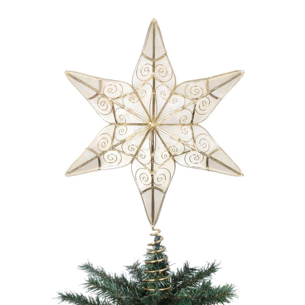 Capiz Shell 3D Star Tree Topper, CT-Christmas Tradition, Putti Fine Furnishings
