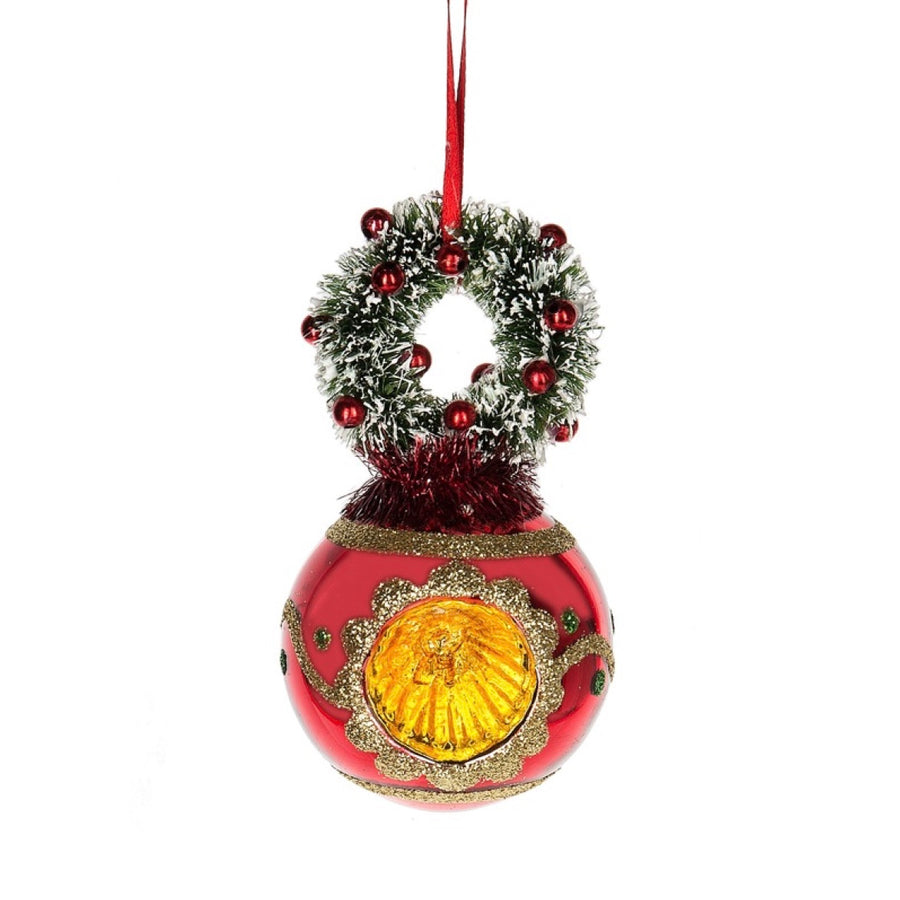 Red Witches Eye with Brush Wreath Ornament