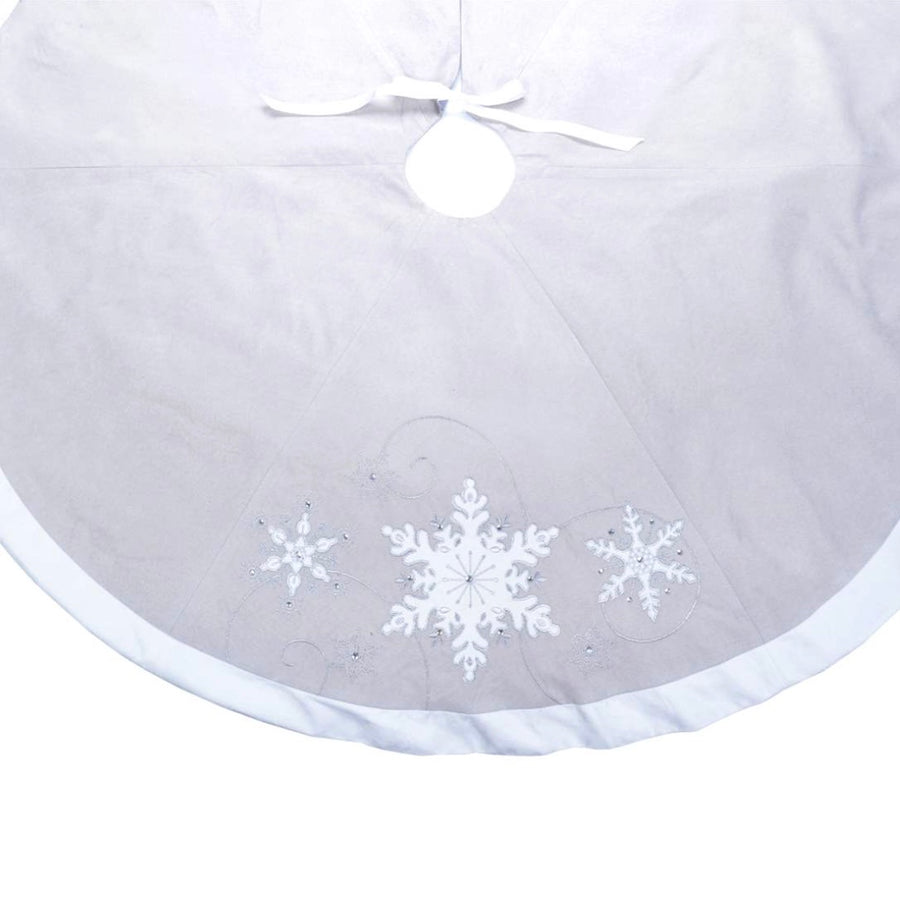 Grey and White Snowflake Tree skirt, CT-Christmas Tradition, Putti Fine Furnishings