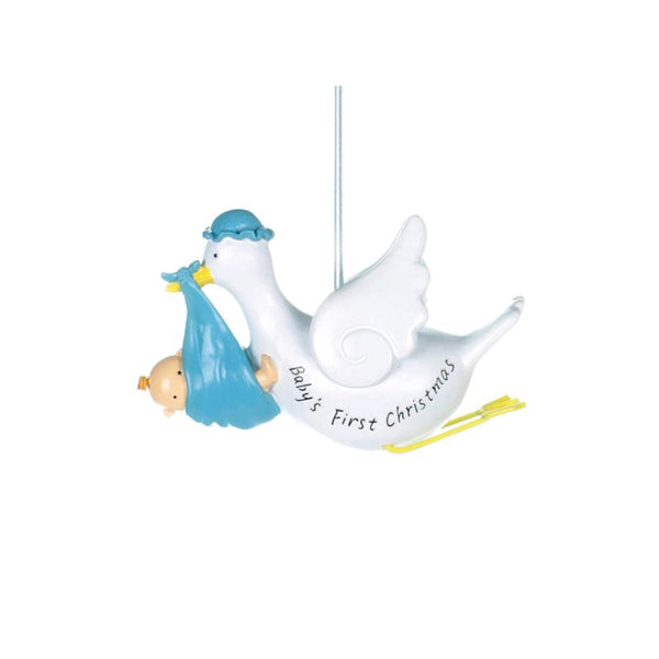 """Baby's First Christmas"" Stork Ornament - Blue, CT-Christmas Tradition, Putti Fine Furnishings"