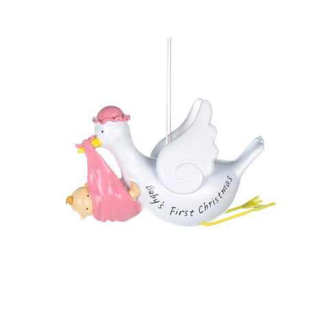 """Baby's First Christmas"" Stork Ornament - Pink, CT-Christmas Tradition, Putti Fine Furnishings"